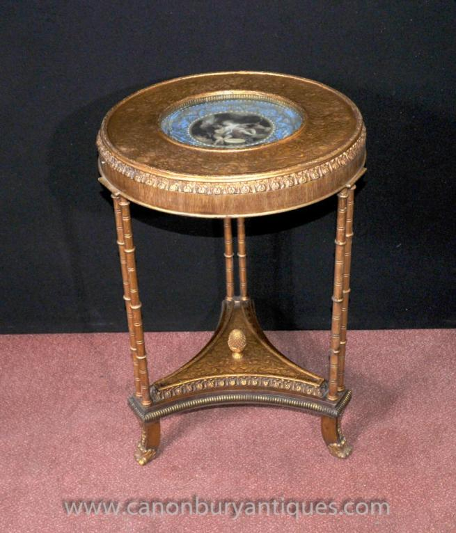 Single Sevres French Side Table Gilt Legs Louis XVI