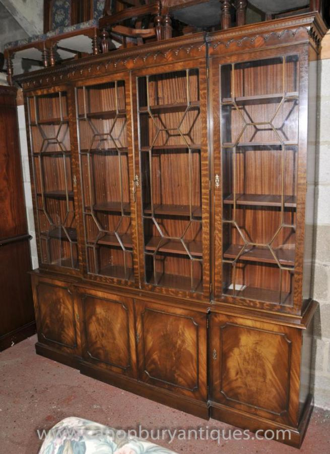 Victorian Breakfront Bookcase Shelf Unit Display Cabinet Mahogany Bookcases