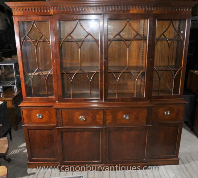 Victorian Breakfront Bookcase with Secretaire Desk Mahogany Bookcases