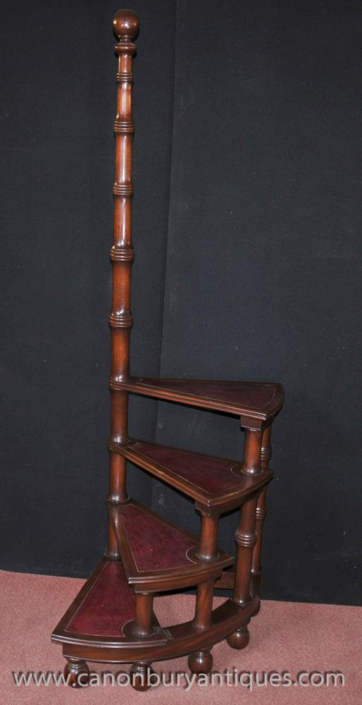 Victorian Library Steps in Mahogany Ladder Step Bookcase