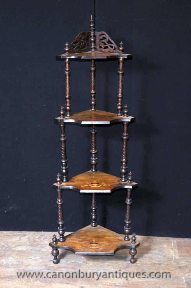 Victorian Walnut Corner Shelf Unit Bookcase Inlay
