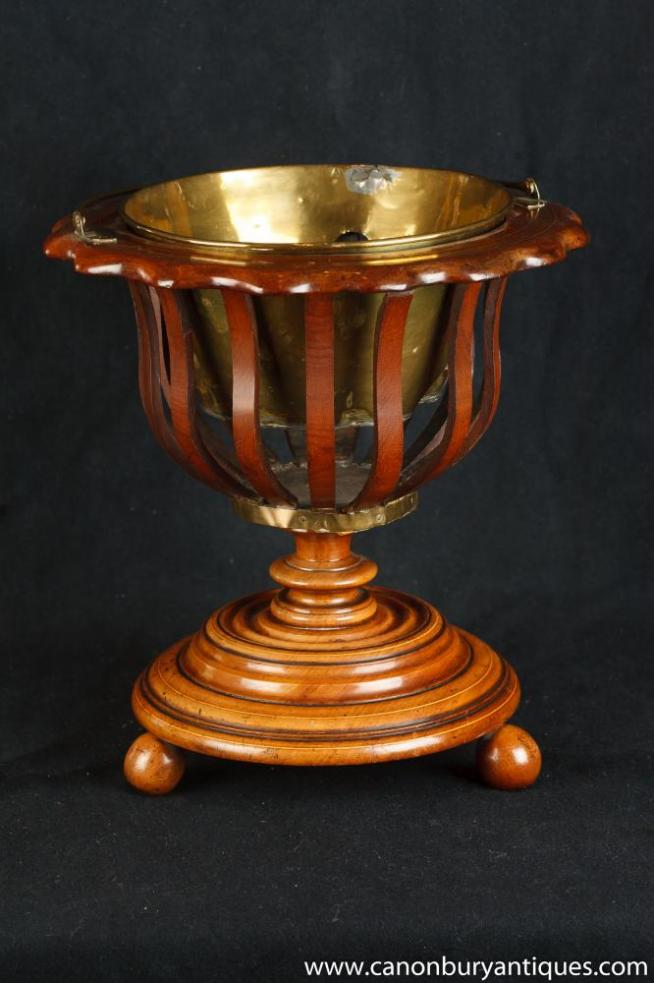 Walnut Regency Ice Bucket Planter Peat Pot Wine Cooler