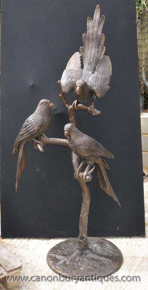 XL Bronze Parrot Bird Statue Perched Branch Tropical Birds Garden Art