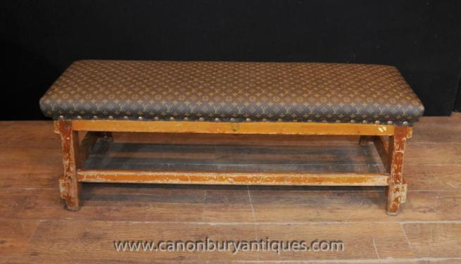 Antique Architectural Bench Stool Seat with Louis Vuitton Print