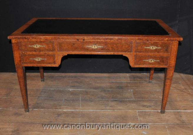 Antique French Napoleon Walnut Partners Desk Writing Table Bureau