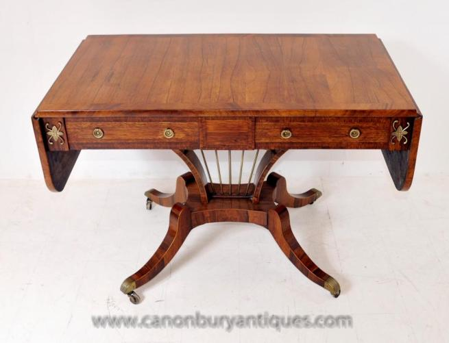 Antique Regency Sofa Table in Walnut Console Tables