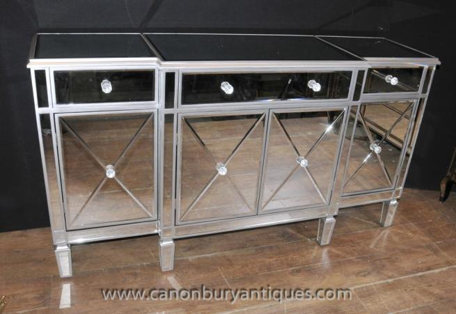art deco mirrored breakfront sideboard server buffet mirror furniture art deco mirrored furniture