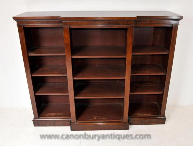 English Regency Breakfront Open Bookcase Mahogany Bookcases