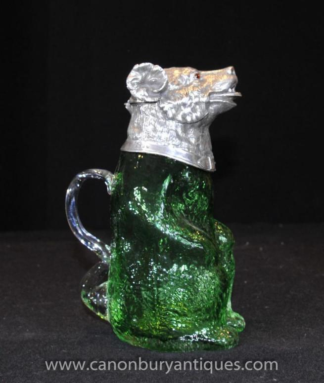 French Cut Glass Silver Plate Bear Jug Ewer