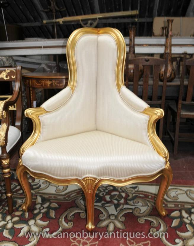 French Empire Corner Chair Seat in Gilt