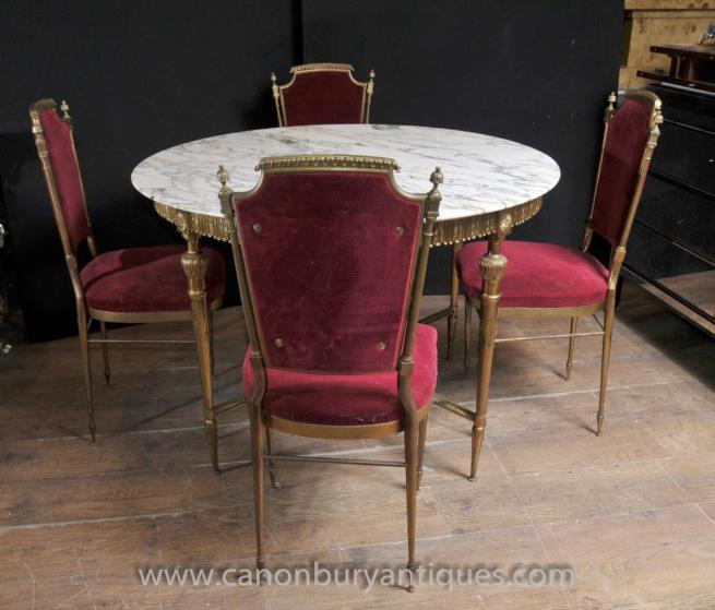 French Empire Dining Set Table and Chairs Ormolu