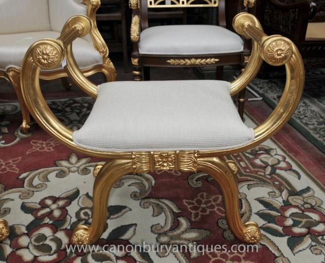 Louis XVI Gilt Stool Seat French Furniture