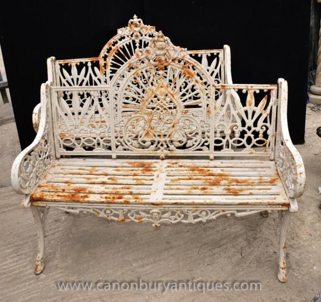 Pair English Victorian Cast Iron Garden Benches Seat