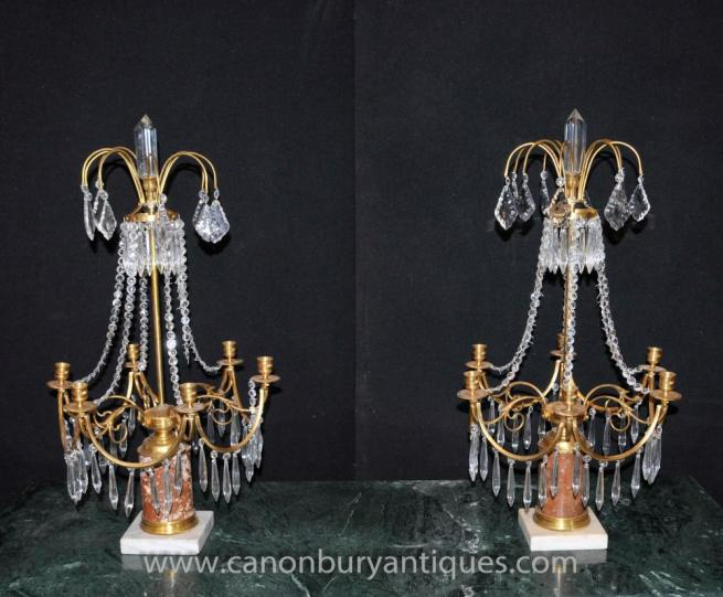 Pair French Empire Chandelier Candelabras Ormolu Marble Glass