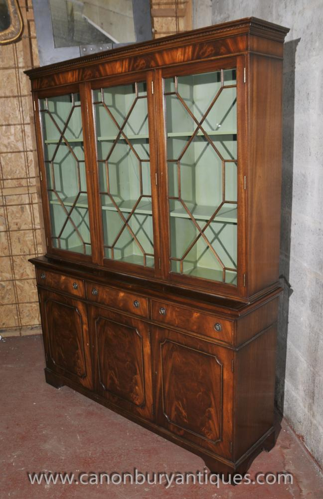 Regency Breakfront Library Bookcase Cabinet Mahogany Display
