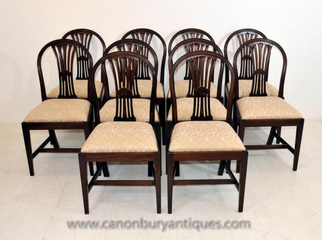 Set 10 Victorian Mahogany Dining Chairs Diners Furniture