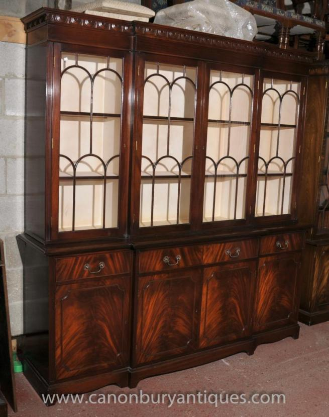 Victorian Gothic Breakfront Bookcase Flame Mahogany Bookcases Cabinet