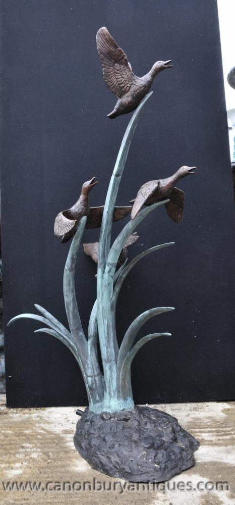 XL Bronze Geese Fountain Garden Water Feature Statue Ducks Birds