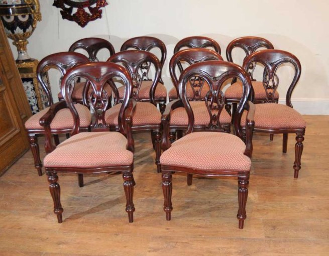 10 Victorian Balloon Back Dining Chairs Diners