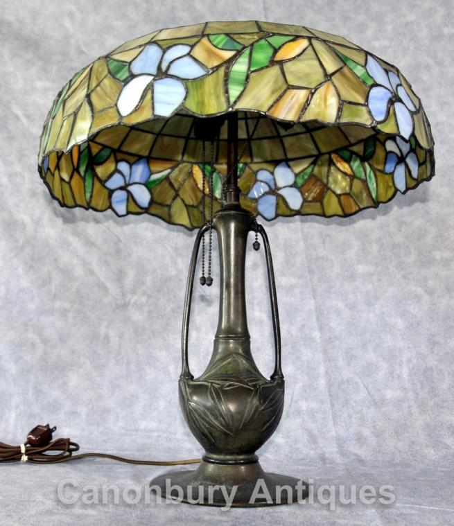 Antique Art Nouveau Tiffany Table Lamp Light Bronze Glass