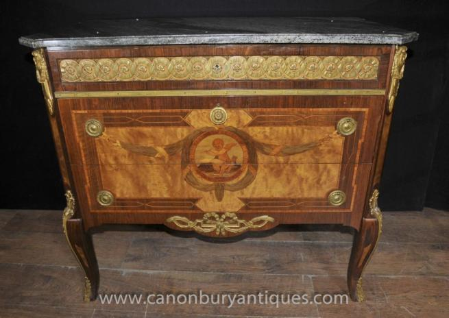 Antique Empire Cherub Inlay Commmode Chest Drawers Ormolu