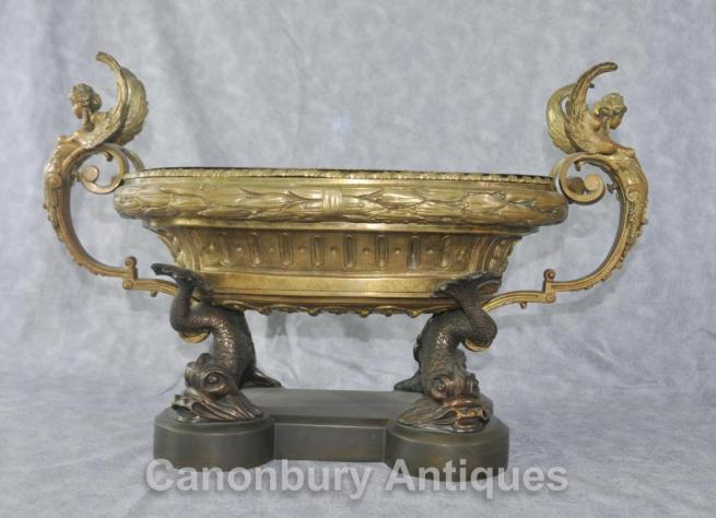 Antique French Empire Clodion Serpent Dish Tureen Ormolu Maidens Bowl Centrepiece
