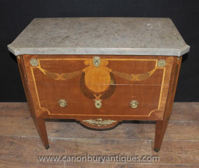 Antique French Empire Marquetry Inlay Commode Chest Drawers Chests