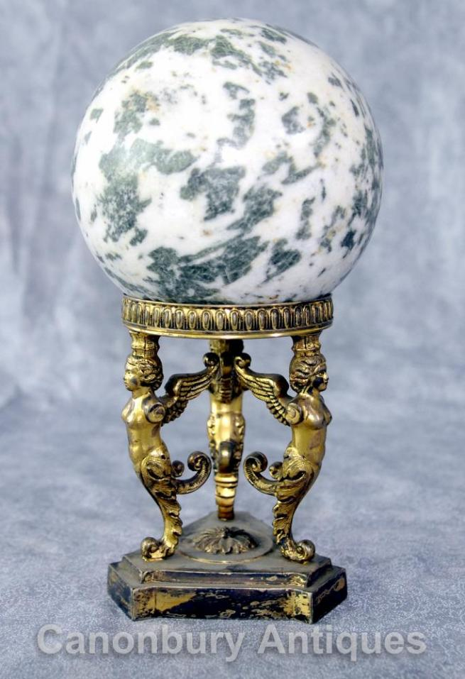 Antique French Empire Ormolu Spinx Marble Ball Decoration