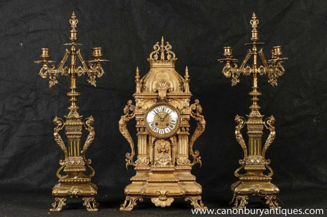 Antique French Ormolu Mantel clock Set Candelabras Garniture Neo Classical