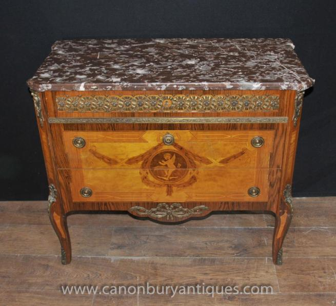 Antique Napoleon II Cherub Inlay Commmode Chest Drawers Ormolu