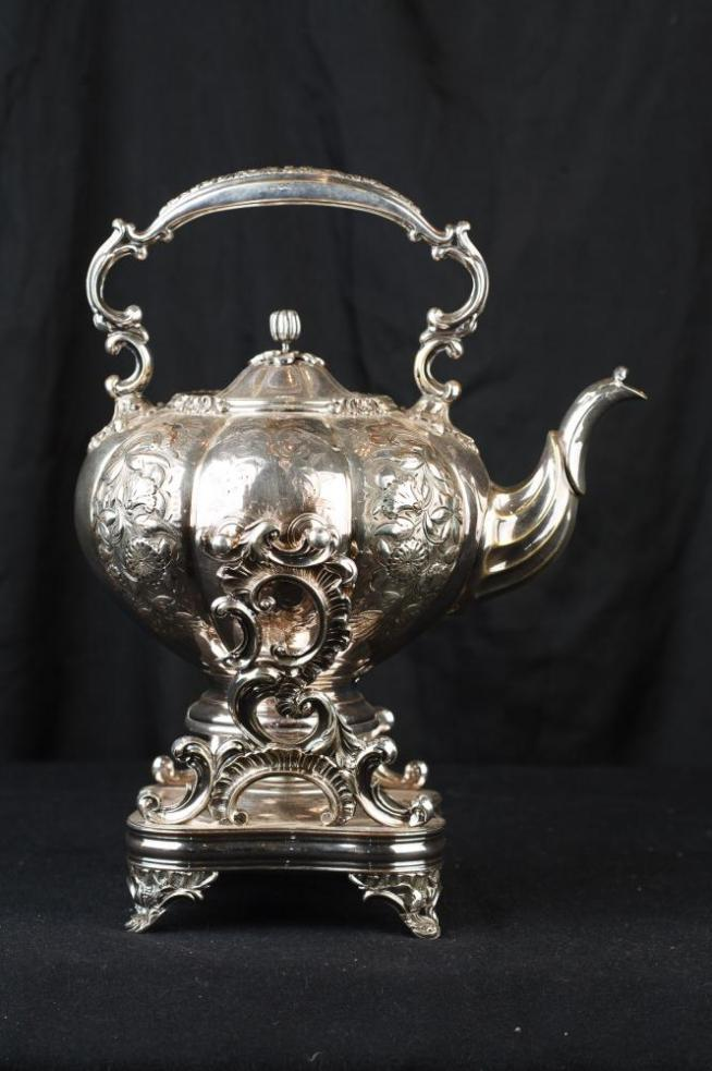 Antique Victorian Sheffield Silver Plate Tea Pot Rococo Warmer