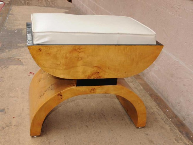 Art Deco Stool Blonde Walnut Seat 1920s Interiors