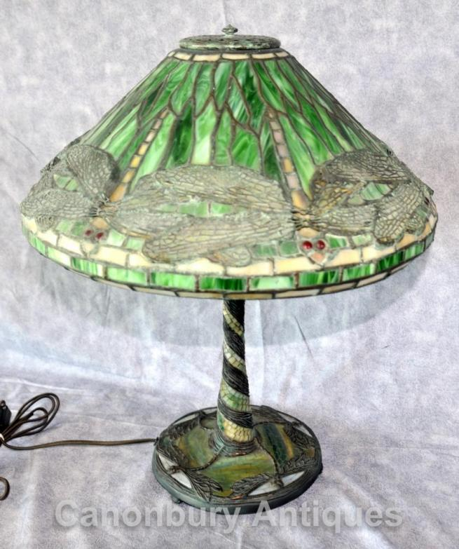 Art Nouveau Tiffany Table Lamp Dragon Fly Table Light