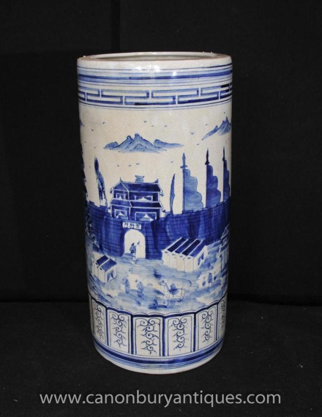 Chinese Blue White Kangxi Porcelain Umbrella Stand Urn Vase Hand Painted