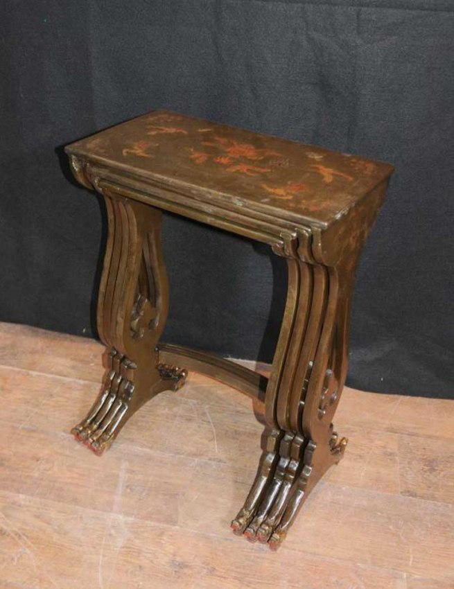 Chinese Lacquer Nest Tables French Chinoiserie Table