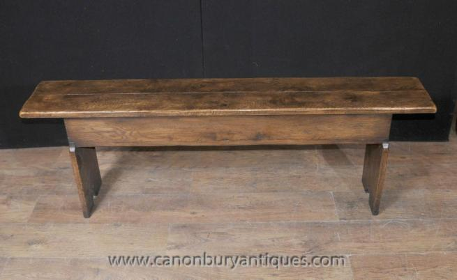 English Oak Farmhouse Bench Seat Storage Box Refectory Rustic