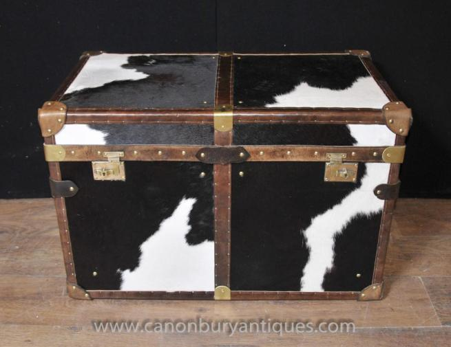 English Steamer Trunk Luggage Box Chest Case Coffee Side Table Animal Print