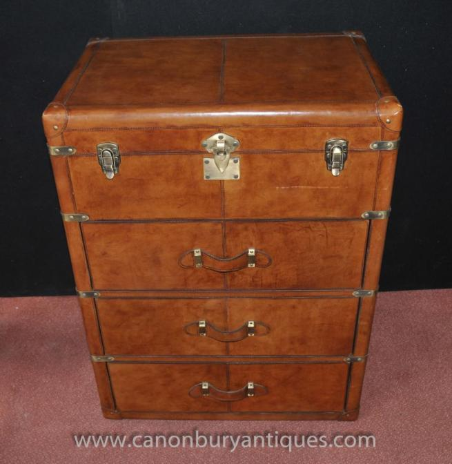 English Steamer Trunk Luggage Chest Drawers Campaign Furniture