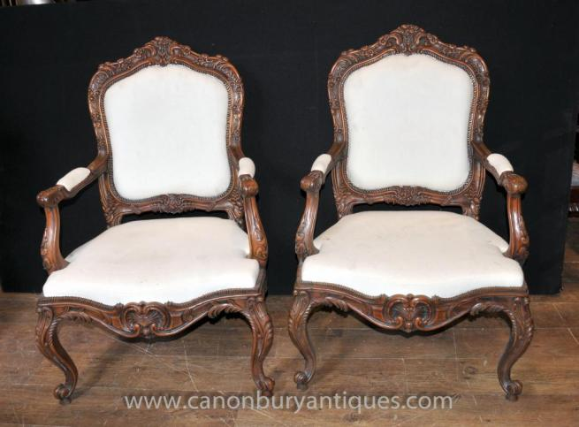 French Louis XVI Carved Arm Chairs Provincial Chair Fauteuils