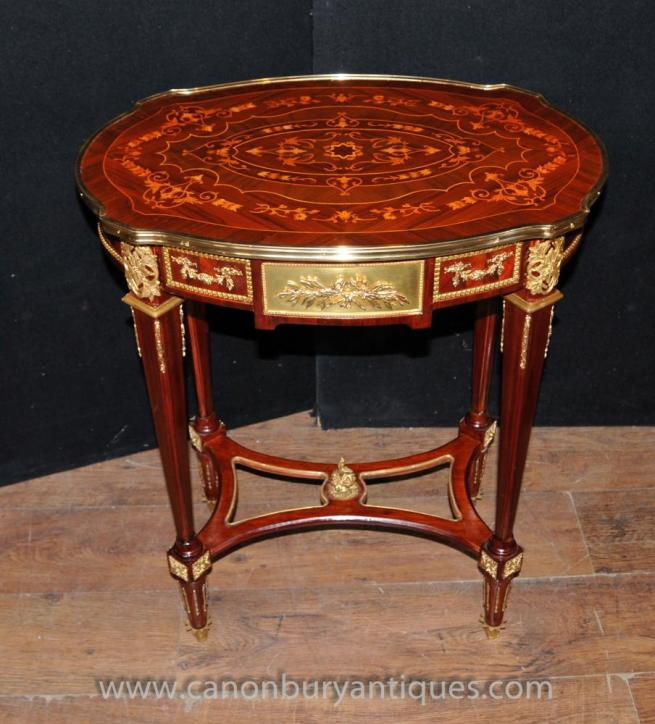 French Louis XVI Oval Side Table Marquetry Inlay Tables