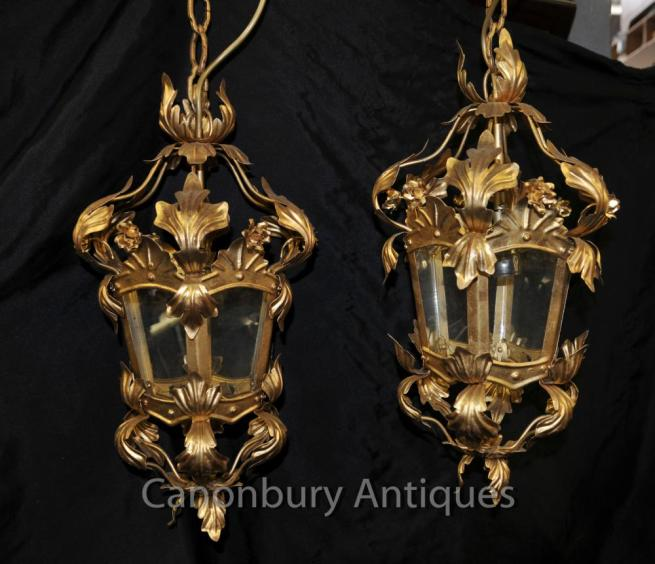 French Rococo Empire Chandeliers Lanterns Ormolu Hanging Lights