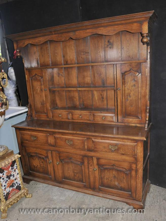 Large Oak Farmhouse Welsh Dresser Kitchen Potboard