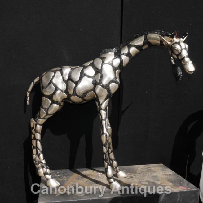 Large Silver Bronze African Giraffe Statue Casting Tribal Art