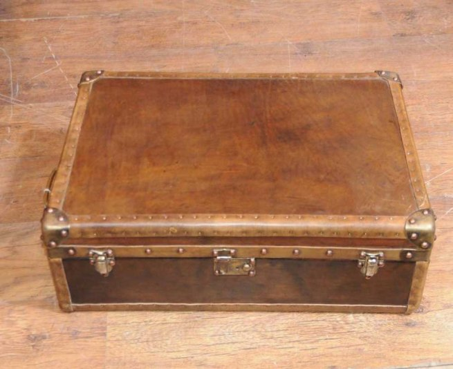 Leather Case Luggage Trunk Coffee Table Box Interior