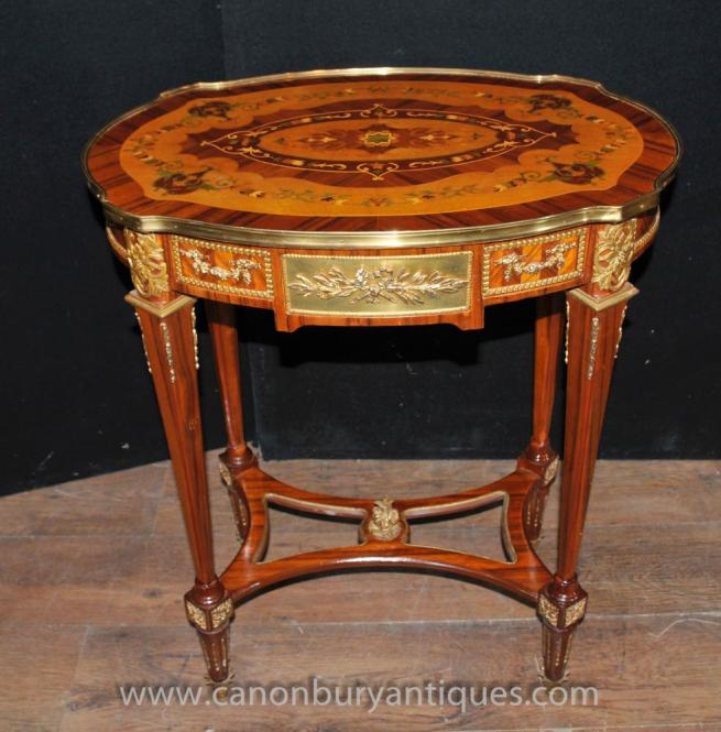 Louis XVI Side Table Marquetry Inlay Cocktail Tables