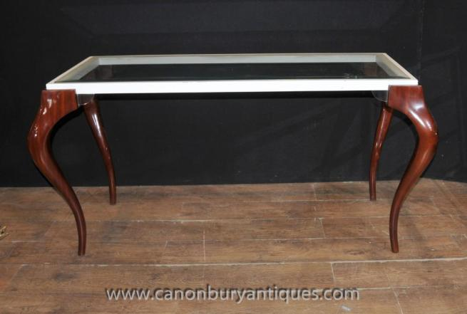 Mid Century Modern Glass Mahogany Console Table Tables