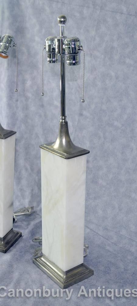 Pair Art Deco Bronze and Alabaster Table Lamps Lights