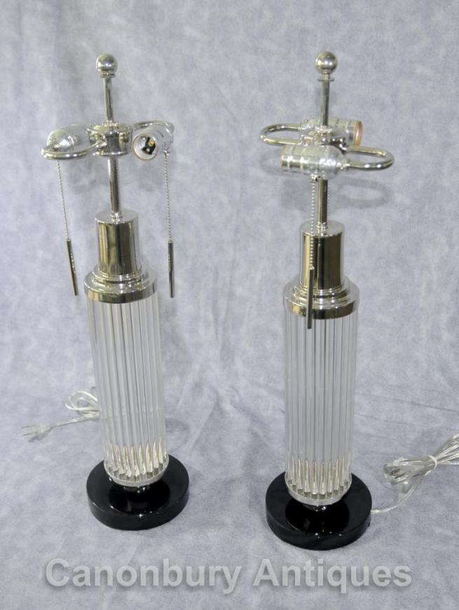 Pair Art Deco Glass Silver Plate Table Lamps Lights