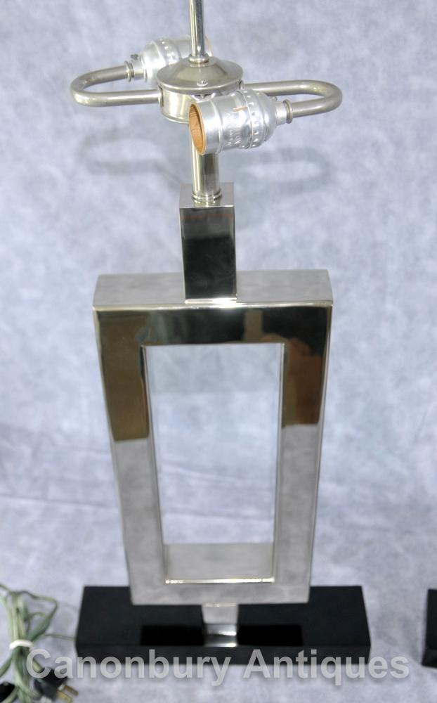 Pair Art Deco Silver Plate Marble Table Lamps Lights Lighting
