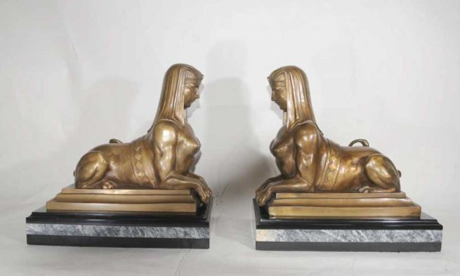 Pair Bronze Egyptian Sphinxes French Empire Statue